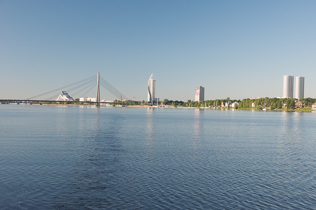 Skyline von Riga am Daugava Fluss